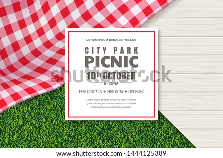 Picnic poster or banner design template. Vector background with realistic red gingham plaid or tablecloth, white wooden table and green grass lawn. Restaurant, cafe menu design elements.