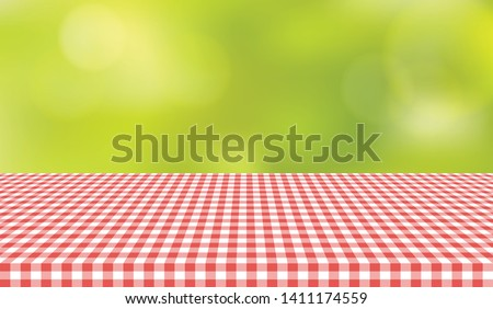 Picnic table cloth background for design montage. Red checkered tablecloth summer texture vector illustration