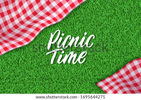Picnic time hand drawn calligraphy lettering. Horizontal spring or summer background with tablecloth on green grass. Vector poster or banner design template with realistic red gingham plaid on lawn