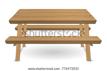 picnic wood table on a white background