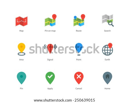 pictogram collection of gps and