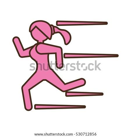 pictogram girl running athlete