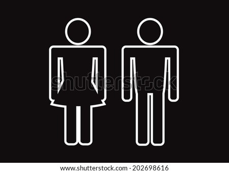 Pictogram Man Woman Sign icons, toilet sign or restroom icon #202698616