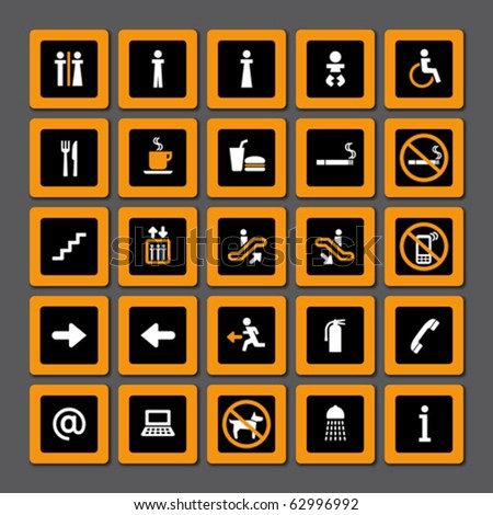 Pictogram set for indoor use in orange and white on black