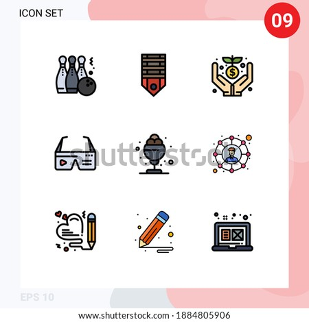 Pictogram Set of 9 Simple Filledline Flat Colors of glasses; computing; stripes; computer; funding Editable Vector Design Elements