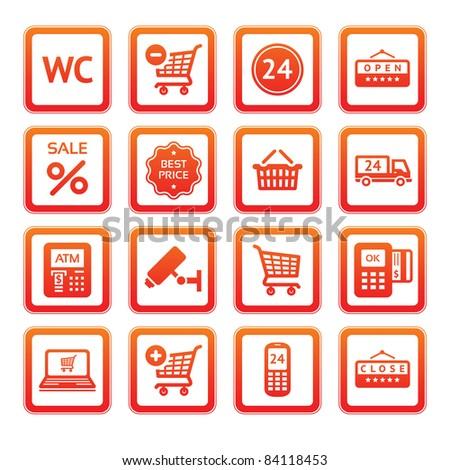 Pictogram set, supermarket services. Shopping Icons. Orange