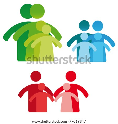 Pictogram showing figures four person family - stock vector