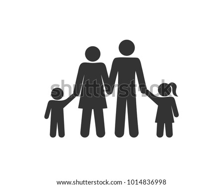 pictogram stick figure family stands holding hands four people isolated