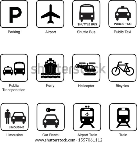 Pictogram Transportation Airport Vector Logo Signage Parking Bus Taxi Ferry Helicopter Bicycles Limousine Car Rental Shuttle Train
