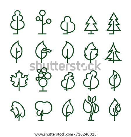 Pictograms of trees. Vector graphics and illustrations.