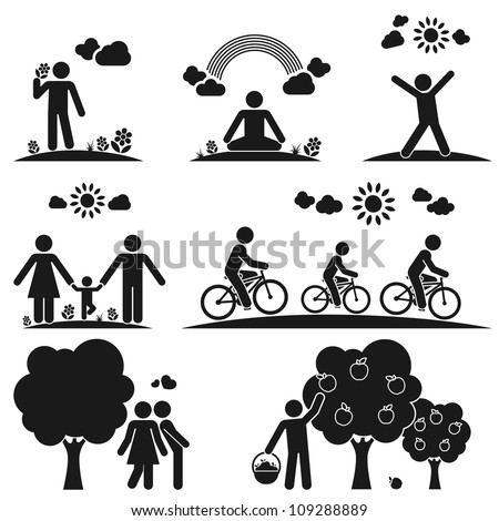 Pictograms representing people spending time in nature in different ways - stock vector
