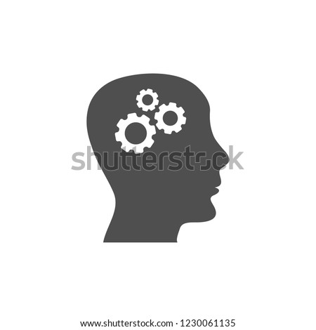Pictograph of gear in head icon. Vector  Eps 10