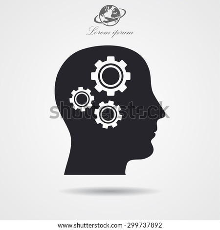 pictograph of gear in head icon