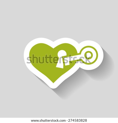 pictograph of heart with key