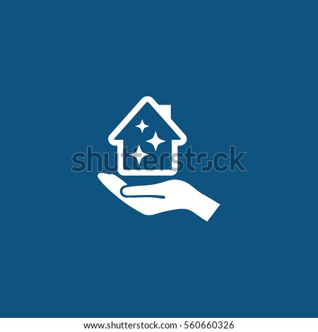 Pictograph of House in hand, clean icon to use in web and mobile UI