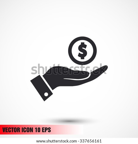 Pictograph of money in hand. Vector icon 10 EPS