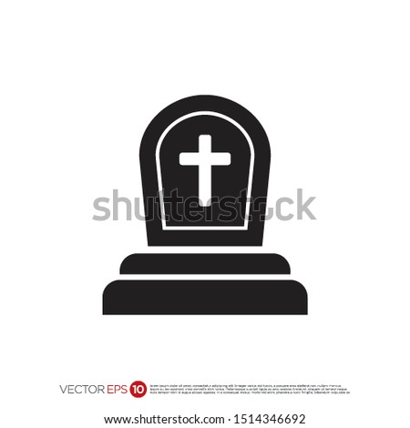 Pictograph of tombstone for template logo, icon, and identity vector designs.  ストックフォト ©