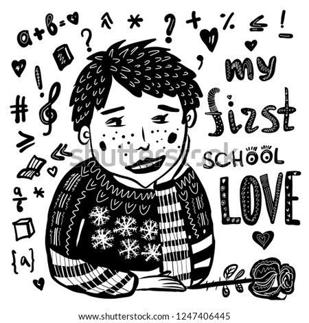 picture drawing, cute boy schoolboy in love for the first time, hand-drawn comic cartoon sketch doodle vector digital illustration. good for postcards, prints and illustrations of articles