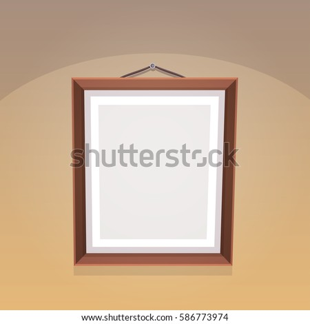 Picture frame on the wall, cartoon vector illustration.