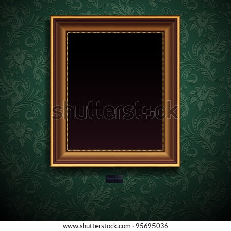 Picture frame vector on wall, vintage grunge wallpaper