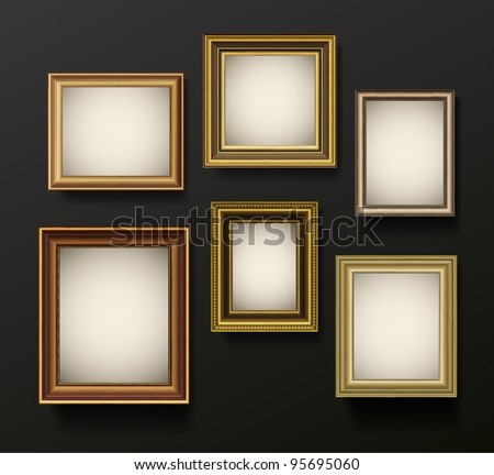 Picture frame vector on wall. Vintage set