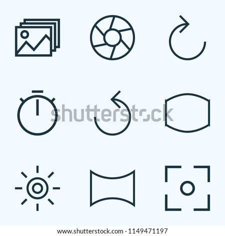 Picture icons line style set with capture, wb iridescent, image and other wide angle elements. Isolated vector illustration picture icons.