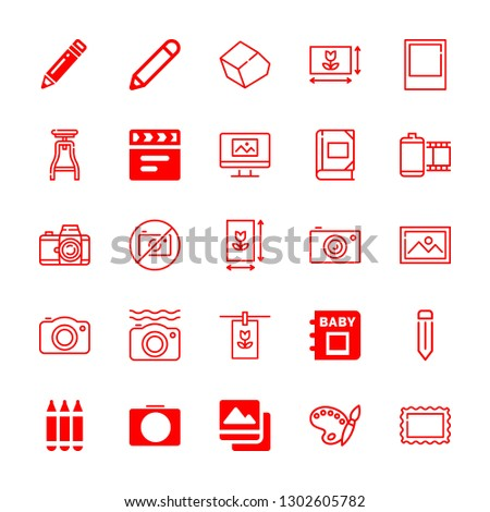 picture icons set with pencil