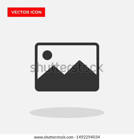 Picture image vector icon in trendy flat style isolated on grey background