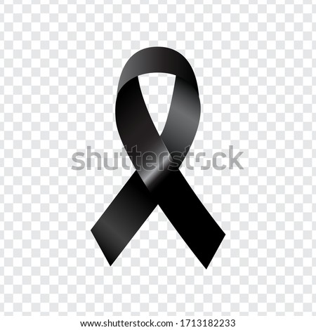 Picture of a black tie. Mourning symbol. Transparent background.