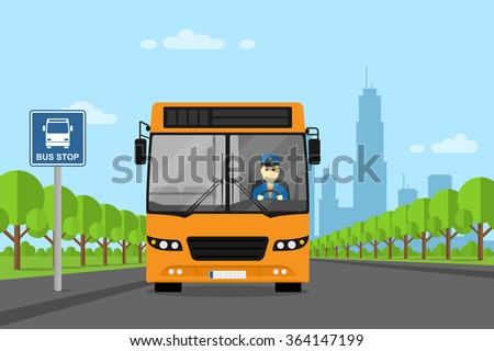 picture of a bus with bus driver inside, standing on bus stop, flat style illustration