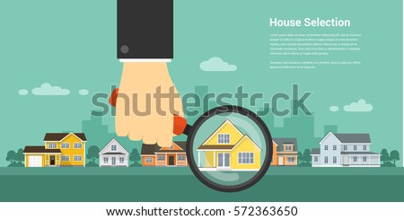 picture of a human hand holding magnifying glass and number of houses, house selection, house project, real estate concept, flat style illustration