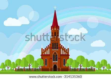 picture of a Roman-Catholic church with fence, trees, clouds and rainbow, flat style illustration