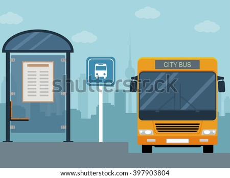 picture of bus on the bus stop