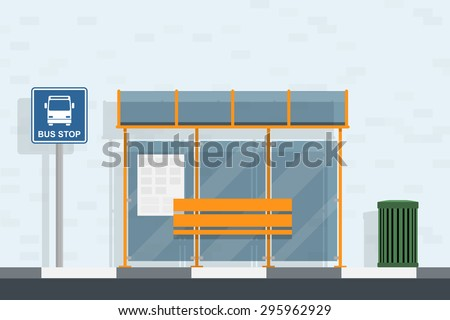 picture of bus stop, bus stop sign and trash can, flat style illustration