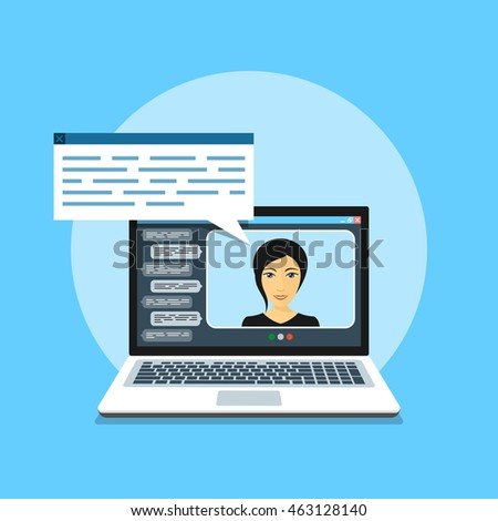 picture of computer with woman avatar on its screen, flat style illustration, video chat, online communication concept