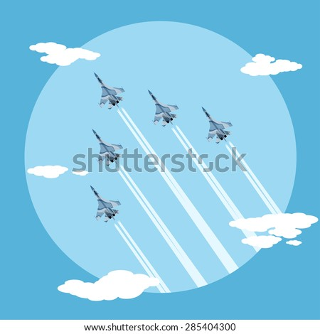 picture of five fighter planes