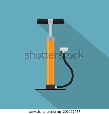 picture of hand bicycle pump, flat style icon