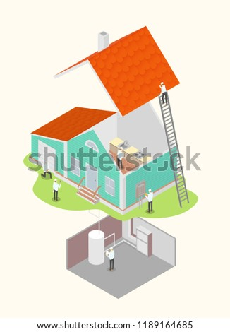 Picture of inspectors checking the house. Home inspection concept illustration. Isometric vector illustration eps10.