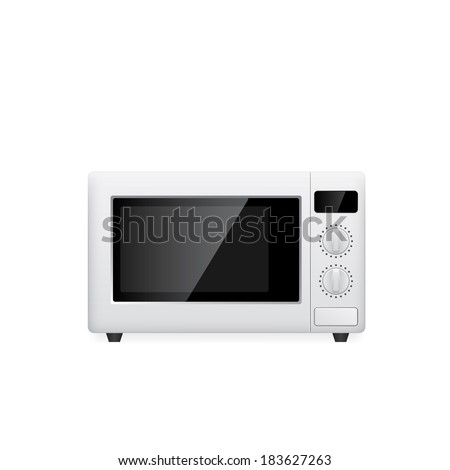 picture of microwave oven on white background, vector eps 10 illustration - stock vector