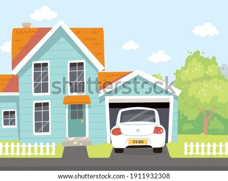 Picture of quiet outdoor neighborhood area in suburbs. Residential house with car parked on driveway in front of opened garage and low wooden fence. Suburbs on weekend. Suburbs life image. Foto d'archivio ©