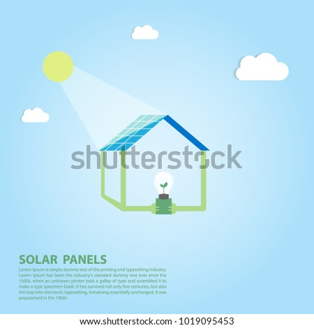 picture of solar panels batteries and green energy in concept environmentally friendly home flat style renewable solar energy vector illustration