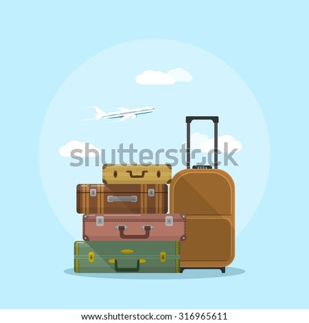 picture of suitcases stack with clouds and plane on background, flat style illustration, vacation and travel concept