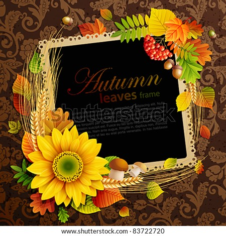 Picture on autumn background with colorful leaves. Vector illustration. Check my portfolio for raster version.