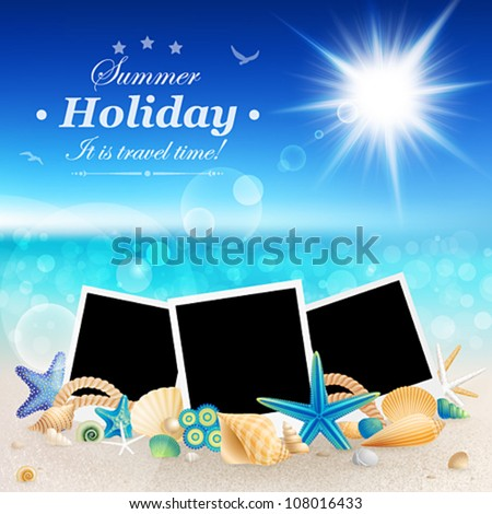 Pictures and shells on Beautiful seaside background Vector illustration