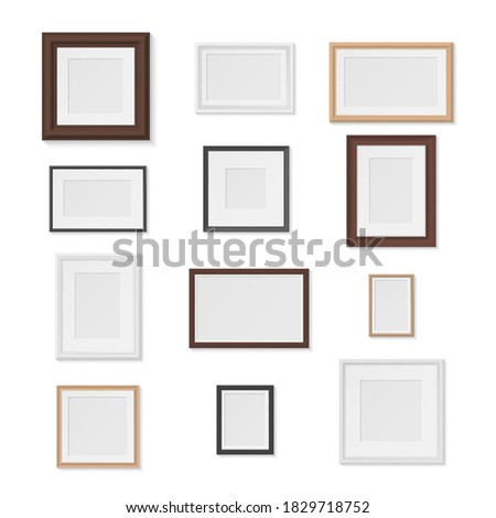 Pictures frames variety on wall realistic mockup set. Horizontal, vertical photographic empty cadres gallery. Museum exhibition. Vector photo frame collection isolated on white. Photo stock ©