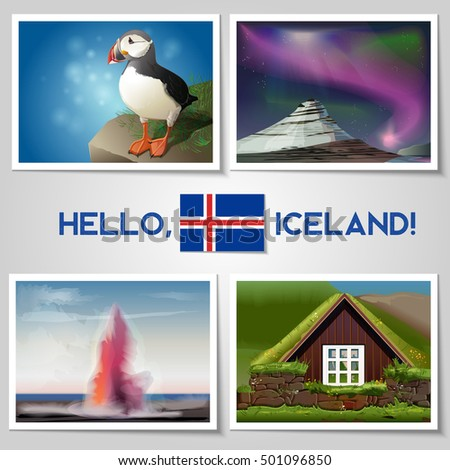 pictures of iceland vector