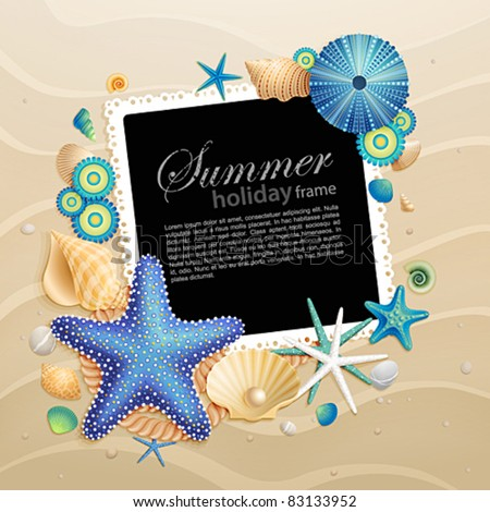 Pictures shells and starfishes on sand background Vector illustration.
