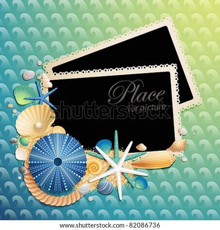 Pictures, shells and starfishes on wave pattern. Vector illustration.