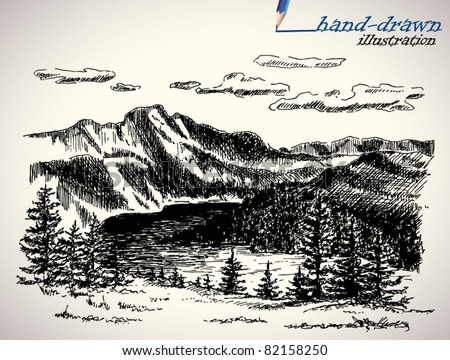 picturesque landscape - hand-drawn illustration - stock vector