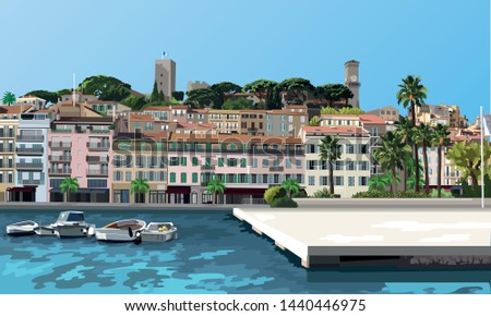 picturesque vector of cannes in